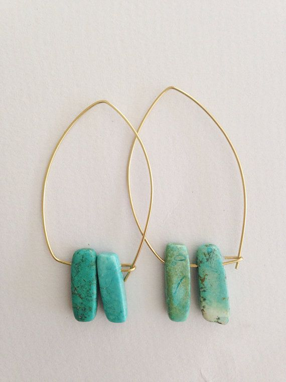 Triangle shaped dangle earrings with turquoise by azadouhijewelry
