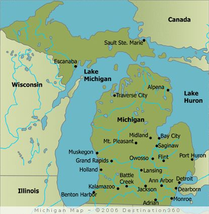 Michigan State Map The Great Lake Statealso Know As