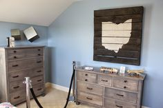 Love this idea of dresser paint for brady's desk and chest dresser.