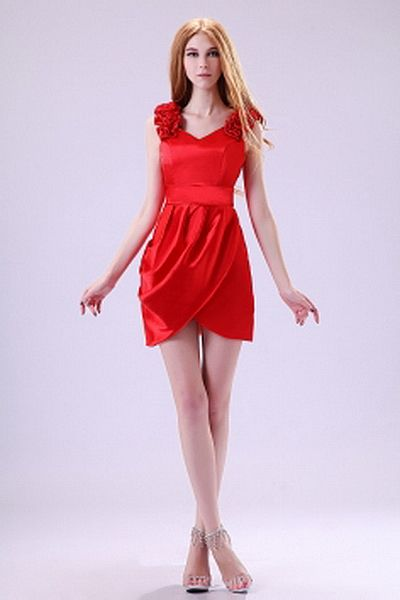 Red Satin V-Neck Bridesmaids Gown - Order Link: http://www.theweddingdresses.com/red-satin-v-neck-bridesmaids-gown-twdn2715.html - Embellishments: Draped , Flower; Length: Short; Fabric: Satin; Waist: Natural - Price: 94.59USD