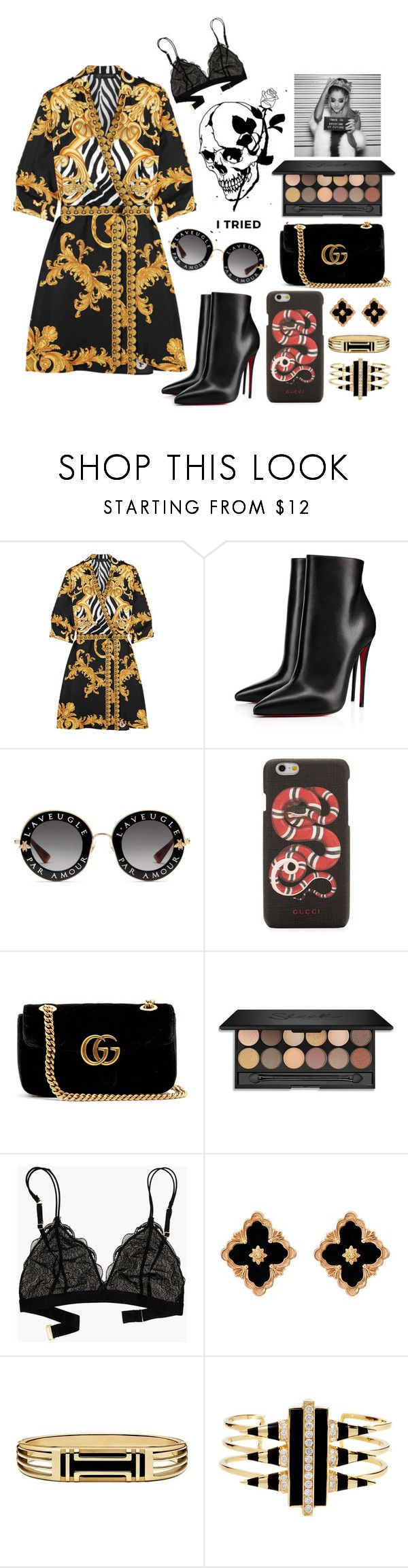 """Live life lavishly"" by doogenfly ❤ liked on Polyvore featuring Versace, Christian Louboutin, Gucci, Madewell, Buccellati, Tory Burch and Noir Jewelry"
