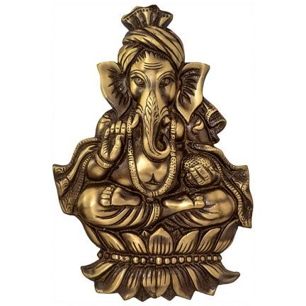 Ethnic Brass Golden Pagri Ganesh Wall Hanging,Figurines