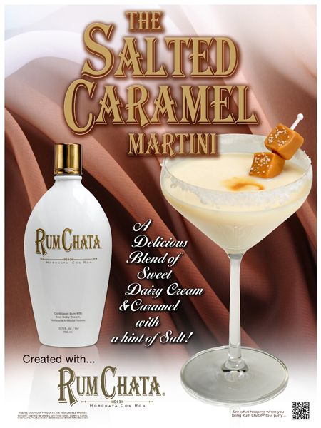 2 parts rum chata, 1 part caramel vodka, in a salt rimmed martini glass with a swirl of caramel sauce.