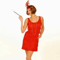 1920s Red Flapper Fancy Dress Costume Outfit (minus the headband...the maid of honor will wear a matching shade of red with the bride sash)