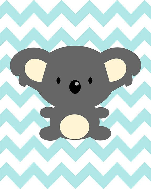 Koala on blue chevron - nursery art baby shower - digital print - 8x10 on A4. €12.00, via Etsy.