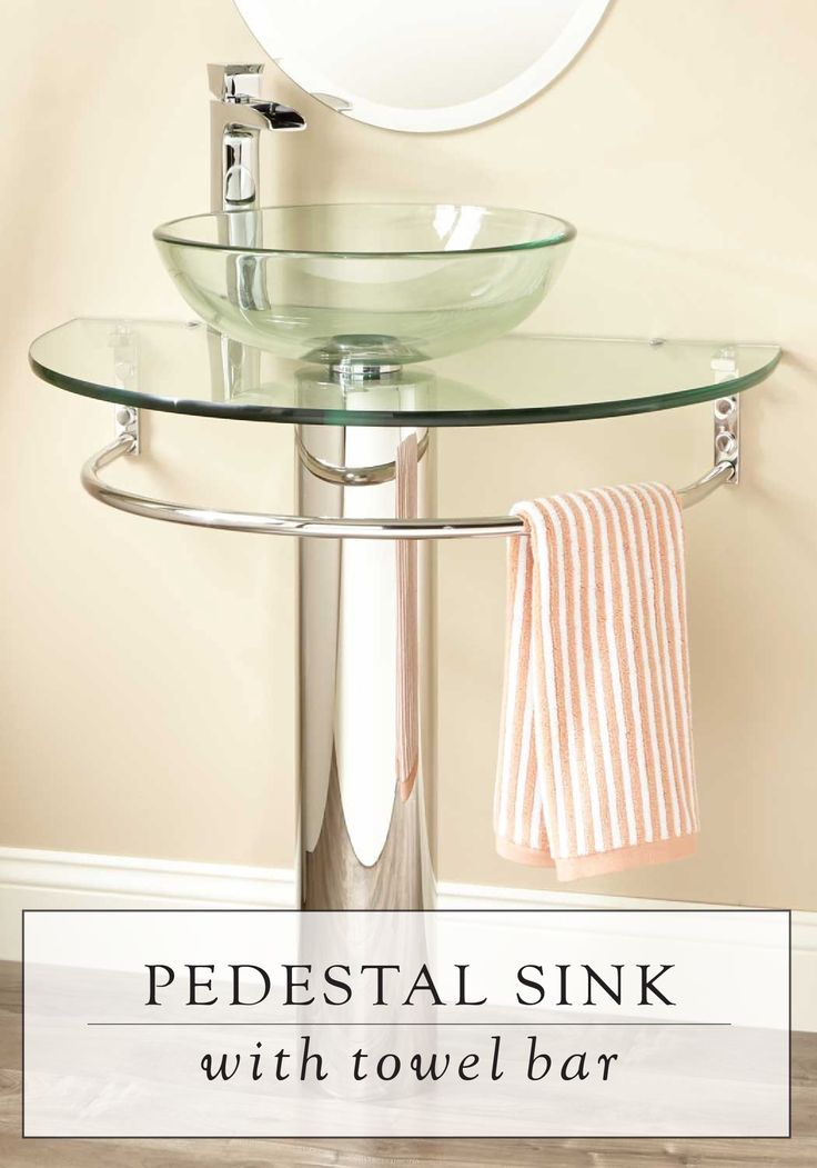 The design of this Glass Pedestal Sink is modern and functional. With its towel bar conveniently underneath, it will give your new bathroom a modern look.
