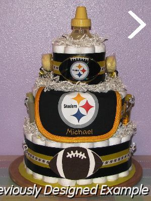 Steelers-Diaper-Cake.JPG - Pittsburgh Steelers Diaper Cake  www.TopsyTurvyDiaperCake.com - washcloth favors, washcloth animals, diaper cakes, and baby shower gifts