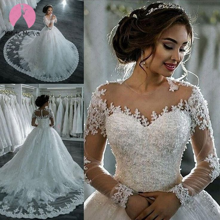 Vestidos De Novia 2019 White Wedding Dress long Sleeves Robe De Soiree Bride Dress Trouwjurk …