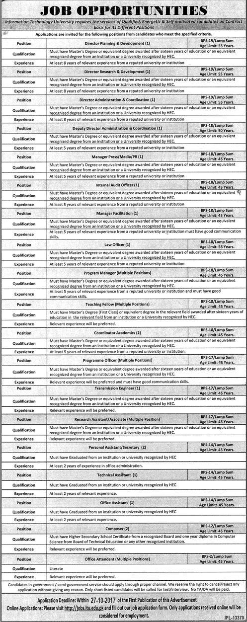 Information Technology University Jobs 2017 For Director And Office Assistant http://www.jobsfanda.com/information-technology-university-jobs-2017-director-office-assistant/