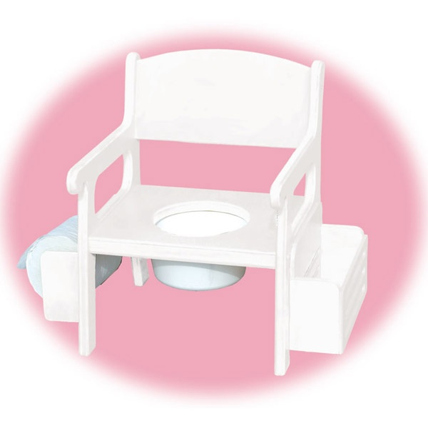 White Wooden Potty Chair W/ Accessories
