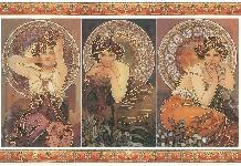 Carta di riso disegnata per decoupage  con Mucha Tre Donne - Stampa oro DFS249G  - By Stamperia ©
