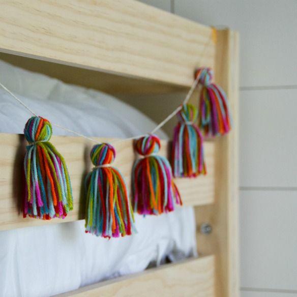 Yarn tassle garland - think we'll have to make this