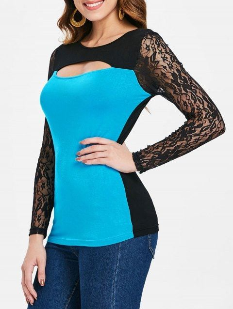 061bac832ace1d Two Tones Cut Out Long Sleeve T-shirt - BUTTERFLY BLUE M | outfit in ...