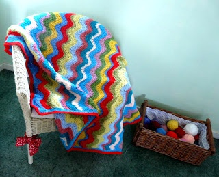Free Pattern ~Adventures in Thread: Cheerful Ripple Crochet Blanket Pattern