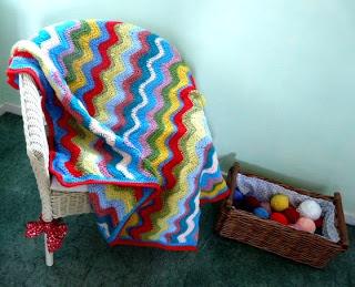 Free Pattern ~Adventures in Thread: Cheerful Ripple Crochet Blanket Pattern