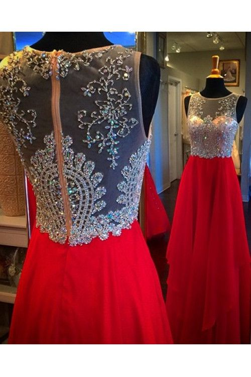 A-line Floor Length Chiffon Red Evening/Prom Dress With Beading PG287