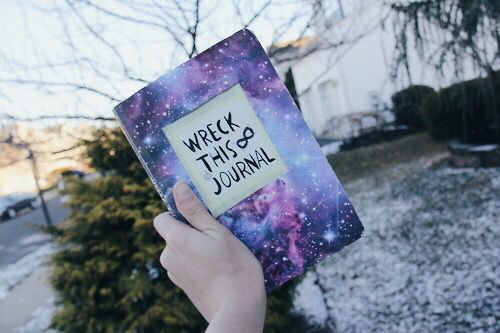Wreck This Journal cover ideas. Trying this out when I get acrylic paints. Love the galaxy theme