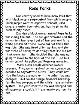 Black History Month- Rosa Parks- Close Read- Differentiated Texts