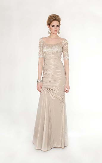 Champagne Lace and Taffeta 3/4 Sleeve Gown $785.00 Pretty scooped back