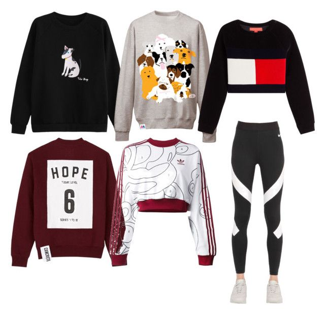 """""""Must have sweater match with workout leggings!"""" by salapopo on Polyvore featuring WithChic, Studio Concrete, Lowie, adidas Originals and NIKE"""