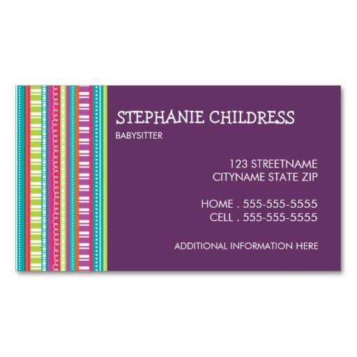 140 best Babysitting Business Cards images on Pinterest
