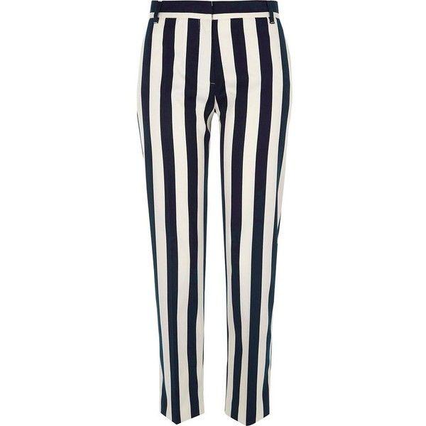 River Island Black stripe cigarette pants ($80) ❤ liked on Polyvore featuring pants, capris, black, cropped pants, women, cigarette trousers, striped trousers, cigarette pants, tailored pants and river island