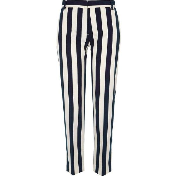 River Island Black stripe cigarette trousers ($51) ❤ liked on Polyvore featuring pants, capris, bottoms, trousers, black, cropped pants, women, stripe pants, cropped trousers and cropped capri pants
