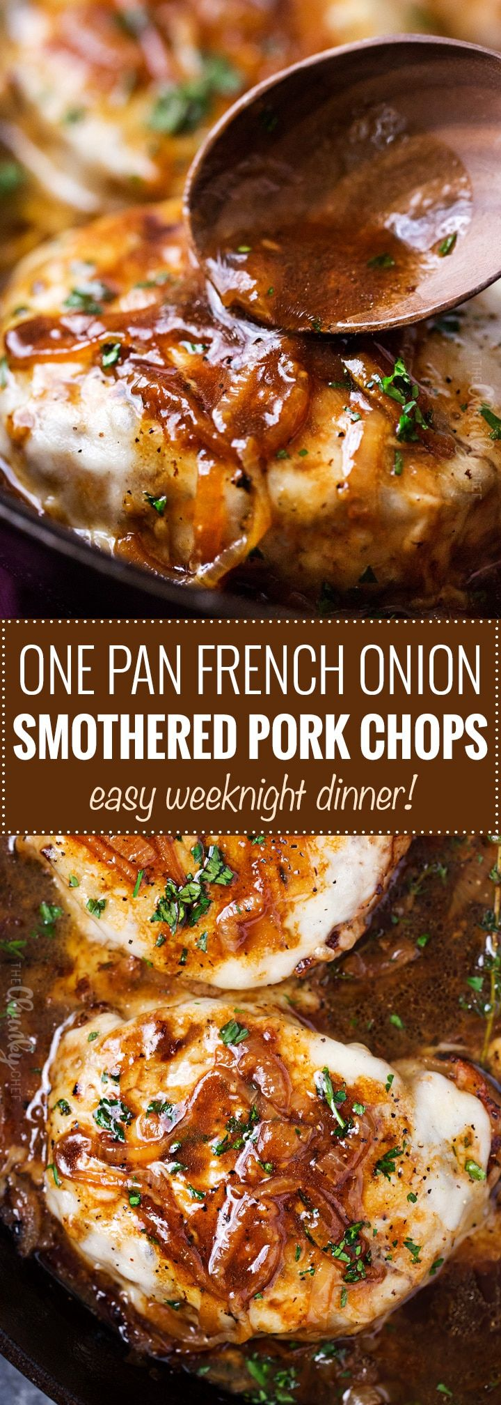 One Pan French Onion Smothered Pork Chops | Juicy pan-seared pork chops, smothered in caramelized onion sauce and 2 kinds of gooey cheese. It's easy to break out of a dinner rut with this fun weeknight meal! | The Chunky Chef