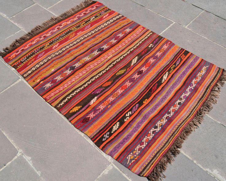 Antique Turkish Kilim Rug Fragment 39u2033 X 54u2033 Hand Woven Wool Rug 100 Cm X  137 Cm