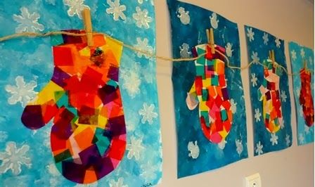 tissue paper squares on mittens with blue watercolor painted background