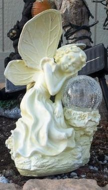Create a romantic atmosphere to your flowerbeds, patio or pathway with this beautiful and elegant resting solar angel with solar gazing ball. http://www.mysolarshop.com/solar-angel-solar-gazing-ball-angel5127