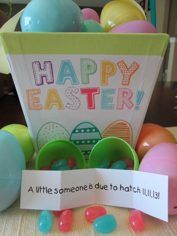My pin: Easter Pregnancy Announcement. How we told our family on Easter that baby #2 was coming! Pink and blue jelly beans with a little note inside an egg.