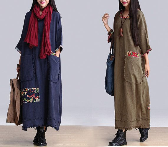 Women Green/Blue Maxi Dresses Patchwork Cotton Linen Robe Loose Fit Long Dresses Plus Size Clothing Autumn Dress For Women(MM023) on Etsy, $68.00
