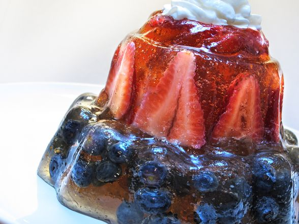 Red, White and Blue jelly. You could also do this with gold and green