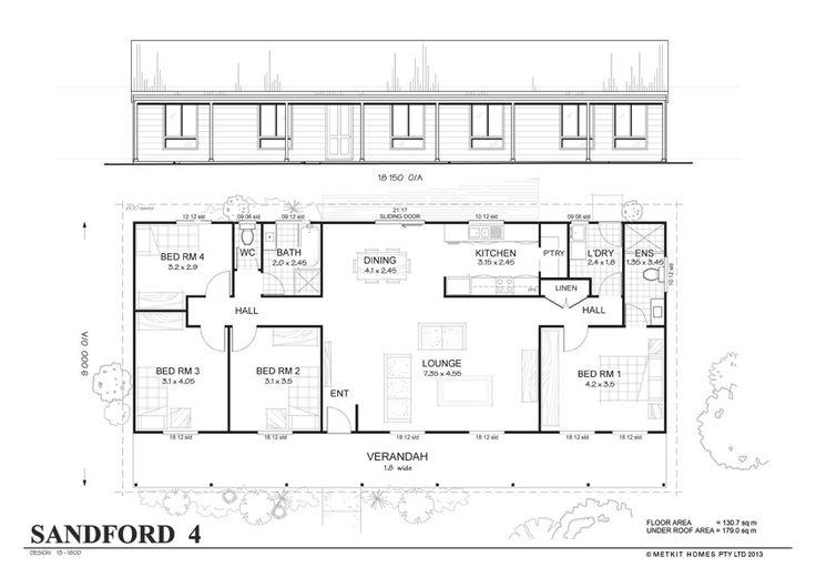 Simple 4 Bedroom Floor Plans | Sanford 4 - Met-Kit Homes - 4 Bedroom Steel Frame Kit Home Floor Plan