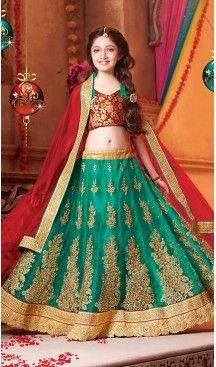 Emerald Color Net Circular Kids Girls Lehenga Cholis | FH467672780