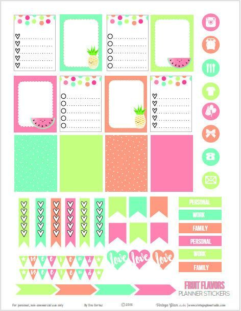Vintage Glam Studio | Fruit Flavors Planner Stickers | Free printable Download - For personal use only.: