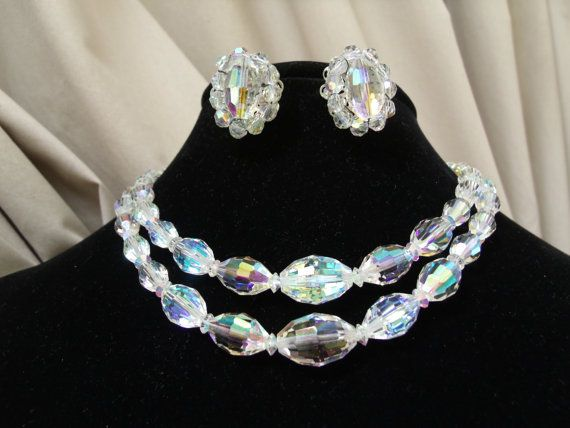 Vintage Aurora Borealis 2 strand necklace with matching earrings brilliant faceted marquis AB crystal glass beads.