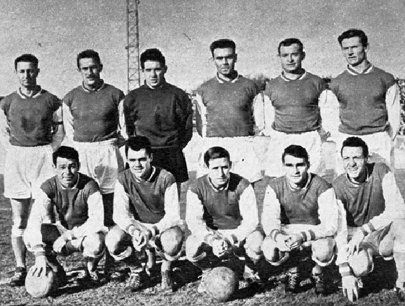 Stade Reims squad 1960, Top, left to right: Robert Joncquet, Jean Wendling, Dominique Colonna, Michel Leblond, Robert Siatka, Bruno Rodzik, Bottom, left to right: Just Fontaine, Lucien Muller, Raymond Kopa, Roger Piantoni, Jean Vincent