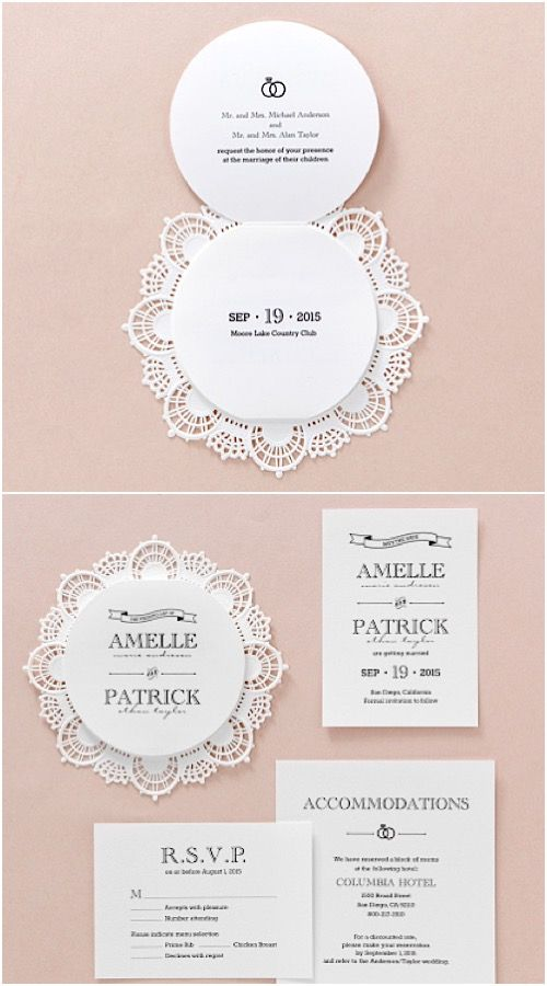 Lasercut Lace Circular Trifold Wedding Stationery by B Wedding Invitations