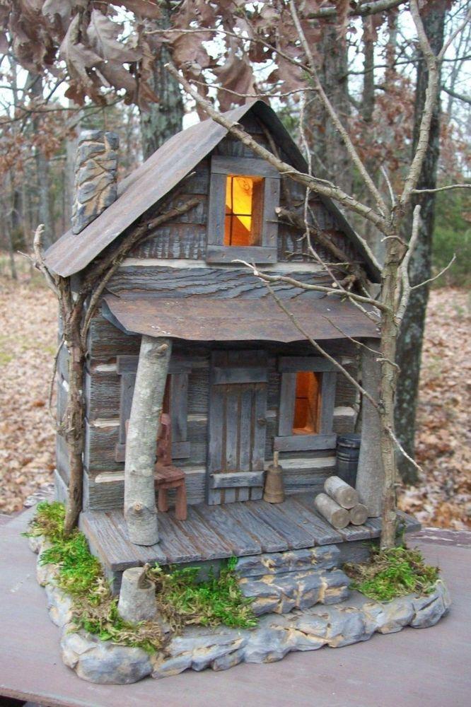 Log Cabin Cedar Folk Art Primitive Hand carved Artist Made Lighted Birdhouse #Country $125.00