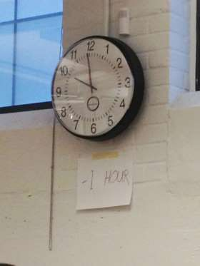 Daylight savings time    Clocks are such a bore. Every year when daylight savings time comes around (or ends) we have to adjust all the clocks to the right time. Such a hassle. Why bother when a simple sign will do.   Imgur . October 3, 2017 (photo: Crave Online)