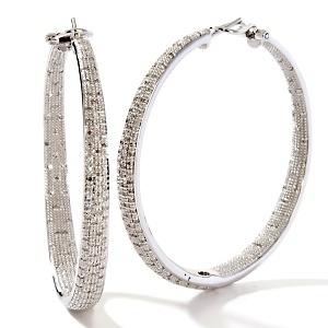 Ramona Singer 1ct Diamond Sterling Silver Hoop Earrings at HSN.com.