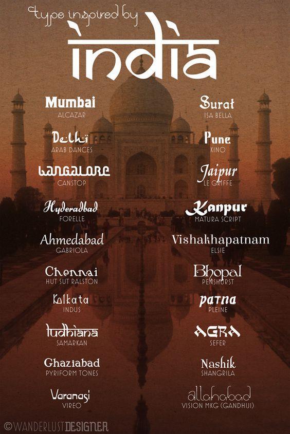 Indische stijl  Dit zijn verschillende lettertypes die typerend zijn aan de indische stijl. Geen standaard lettertypes, maar eerder frivole en versierde lettertypen