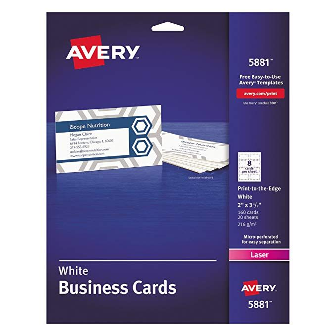 Avery 5881 Print To The Edge Microperf Business Cards Color Laser 2 X 3 1 2 White Pack Of 1 Avery Business Cards White Business Card Colorful Business Card