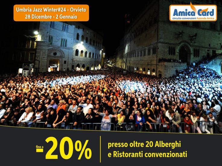 UN CAPODANNO ALL'INSEGNA DEL JAZZ...E DELLA CONVENIENZA AMICA CARD. Vieni a Orvieto e partecipa agli eventi dell'Umbria jazz #winter24 dal 28 dicembre al 1 gennaio. Con Amica Card puoi risparmiare fino al 20% presso oltre 20 strutture convenzionate tra #alberghi e #ristoranti della zona. Registrati subito e scarica gli #sconti su AmicaCard.it #Jazz #festival #Umbria #risparmio #amicacard #convenzioni