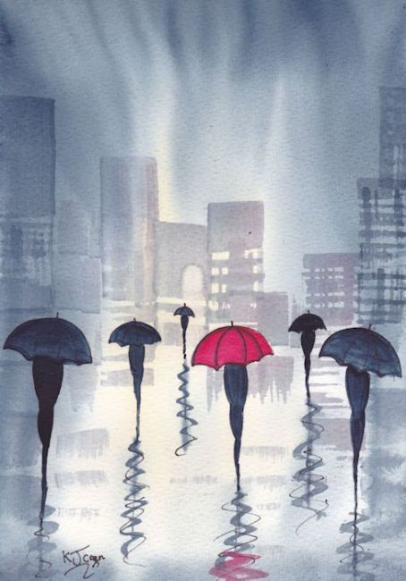 Art: Rainy Day City~One Red Umbrella by Artist KJ Carr