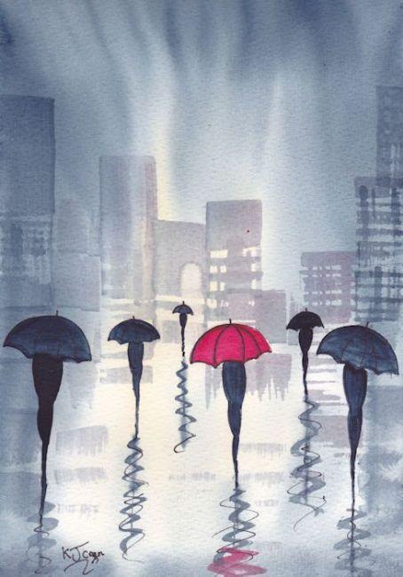 Art: Rainy Day City~One Red Umbrella by Artist KJ Carr