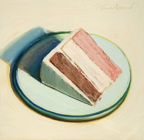 Wayne Thiebaud     (American, b. 1920) -   Cake Slice  1979 -   Oil on wood panel