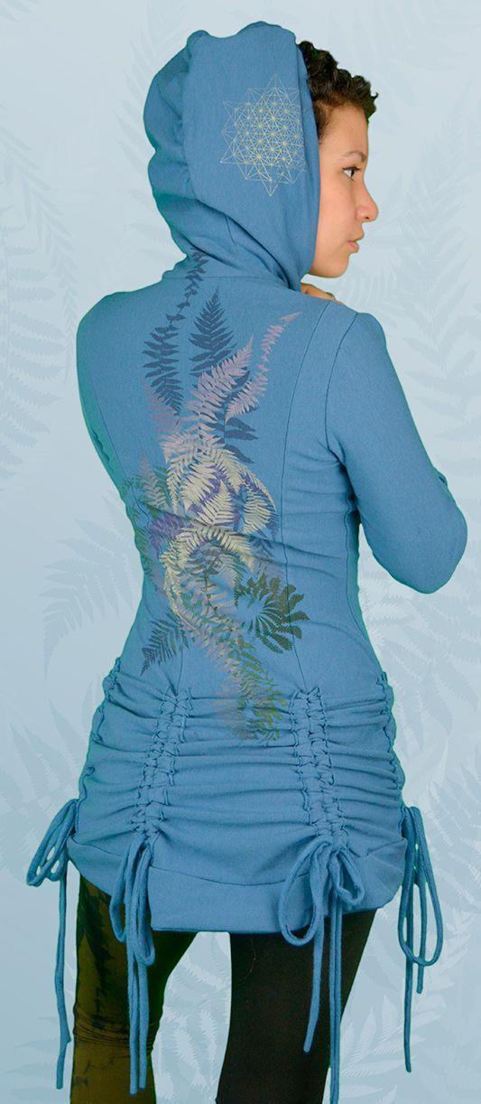 """Varen"" Bamboo Fleece Bustle Jacket Designs inspired by ferns, the forest, fractals, sacred geometry, spirals, star-tetrahedron, metatrons cube"